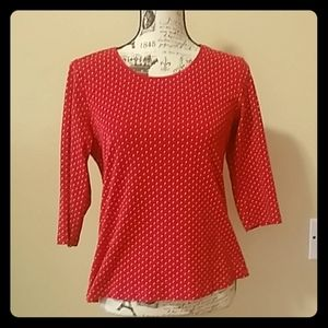 Red & white polka dot top size medium